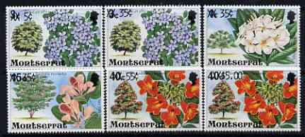 Montserrat 1980 Provisional opts on Flowering Trees perf set of 6 unmounted mint, SG 476-81*