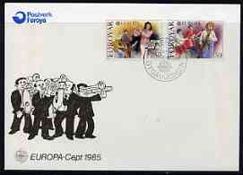 Faroe Islands 1985 Europa - Music Year perf set of 2 on Illustrated cover with special first day cancel