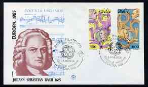 Italy 1985 Europa - Music Year perf set of 2 on Illustrated cover with special first day cancel