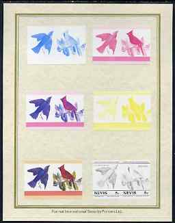 Nevis 1985 John Audubon Birds #1 (Leaders of the World) 5c set of 7 imperf progressive proof pairs comprising the 4 individual colours plus 2, 3 and all 4 colour composites mounted on special Format International cards (7 se-tenant proof pairs as SG 269a)