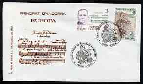 Andorra - Spanish 1985 Europa - Music Year perf set of 2 on Illustrated cover with special first day cancel, stamps on music, stamps on europa, stamps on composers