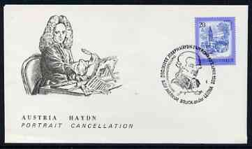Postmark - Austria 1982 illustrated card for Joseph Haydn with special portrait cancellation