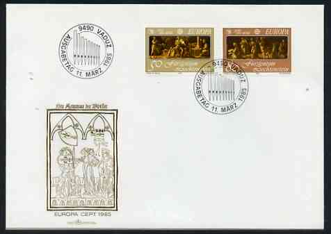 Liechtenstein 1985 Europa - Music Year perf set of 2 on Illustrated cover with special first day cancel