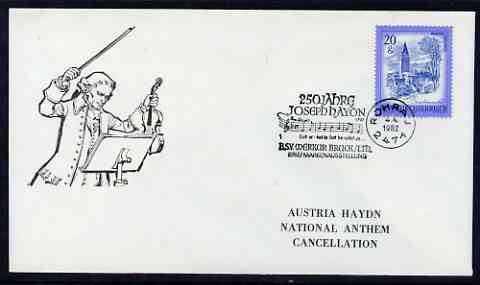 Postmark - Austria 1982 illustrated cover for Joseph Haydn with special 'National Anthem' cancellation