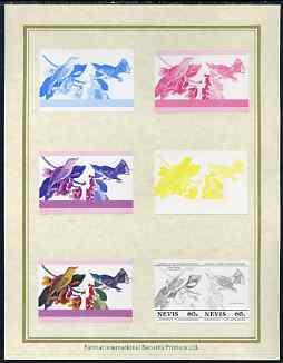 Nevis 1985 John Audubon Birds #1 (Leaders of the World) 60c set of 7 imperf progressive proof pairs comprising the 4 individual colours plus 2, 3 and all 4 colour composites mounted on special Format International cards (7 se-tenant proof pairs as SG 273a)