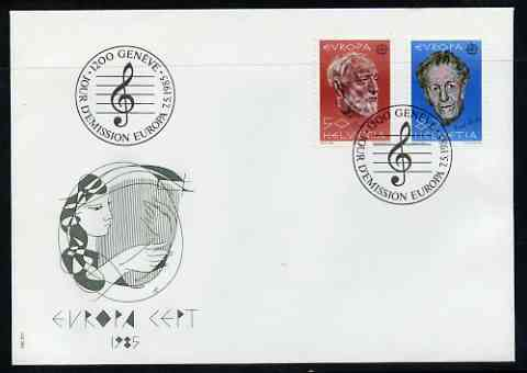 Switzerland 1985 Europa - Music Year perf set of 2 on Illustrated cover with special first day cancel