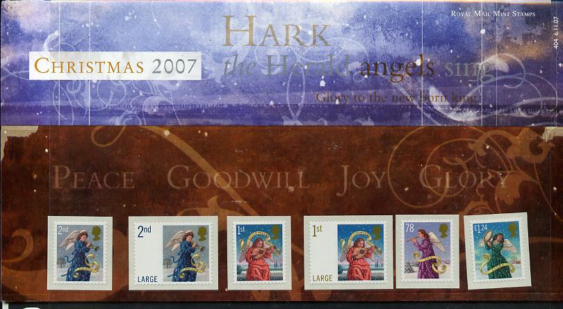 Great Britain 2007 Christmas - Hark the Herald Angels Sing self adhesive set of 6 values in official presentation pack unmounted mint, SG 2789-94