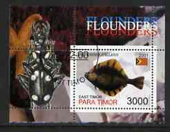 Timor (East) 2001 Fish #2 (Flounder with Beetle in margin) perf m/sheet cto used, stamps on fish, stamps on beetles, stamps on insects