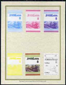 Tuvalu 1985 Locomotives #4 (Leaders of the World) 5c 'Churchward 2-8-0' set of 7 imperf progressive proof pairs comprising the 4 individual colours plus 2, 3 and all 4 colour composites mounted on special Format International cards (7 se-tenant proof pairs as SG 313a)