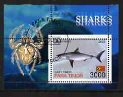 Timor (East) 2001 Sharks (Spider in margin) perf m/sheet cto used