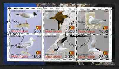 Timor (East) 2001 Sea Gulls perf sheetlet containing set of 6 values cto used