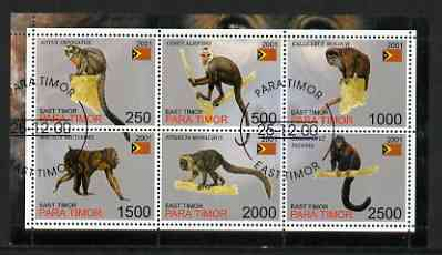 Timor (East) 2001 Monkeys perf sheetlet containing set of 6 values cto used, stamps on animals, stamps on apes