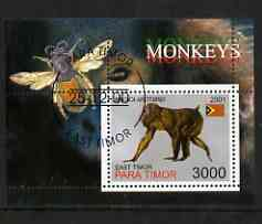 Timor (East) 2001 Monkeys (Bee in margin) perf m/sheet cto used