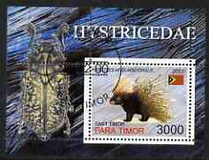 Timor (East) 2001 Porcupine (with Insect in margin) perf m/sheet cto used