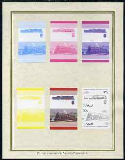 Tuvalu 1985 Locomotives #4 (Leaders of the World) 10c 'Class KF 4-8-4' set of 7 imperf progressive proof pairs comprising the 4 individual colours plus 2, 3 and all 4 colour composites mounted on special Format International cards (7 se-tenant proof pairs as SG 315a)