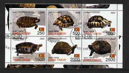 Timor (East) 2001 Turtles perf sheetlet containing set of 6 values cto used