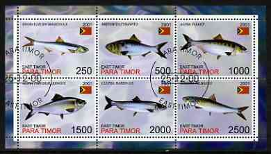 Timor (East) 2001 Fish #1 perf sheetlet containing set of 6 values cto used