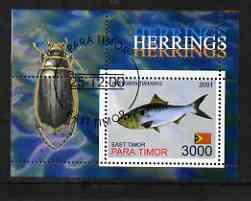 Timor (East) 2001 Fish #1 (Herring with Beetle in margin) perf m/sheet cto used