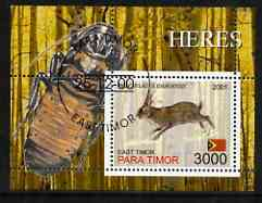 Timor (East) 2001 Rabbits (Beetle in margin) perf m/sheet cto used