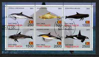 Timor (East) 2001 Whales & Dolphins perf sheetlet containing set of 6 values cto used