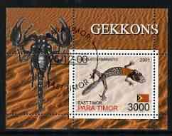 Timor (East) 2001 Geckos (Scorpion in margin) perf m/sheet cto used