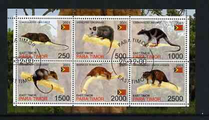 Timor (East) 2001 Marsupials perf sheetlet containing set of 6 values cto used