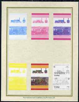 Tuvalu 1985 Locomotives #4 (Leaders of the World) $1 'Pearson 4-2-4' set of 7 imperf progressive proof pairs comprising the 4 individual colours plus 2, 3 and all 4 colour composites mounted on special Format International cards (7 se-tenant proof pairs as SG 319a)
