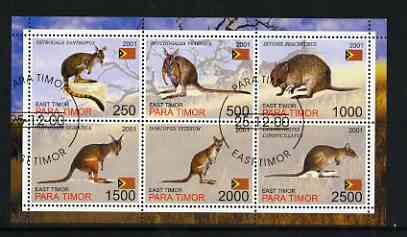 Timor (East) 2001 Kangaroos perf sheetlet containing set of 6 values cto used