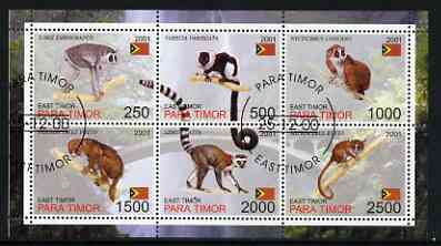 Timor (East) 2001 Lemurs perf sheetlet containing set of 6 values cto used