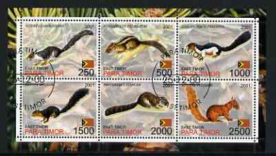 Timor (East) 2001 Squirrels perf sheetlet containing set of 6 values cto used