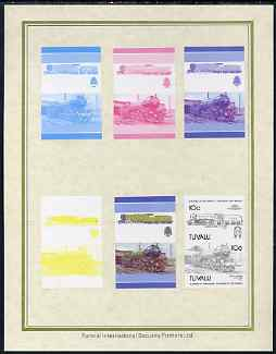 Tuvalu 1985 Locomotives #5 (Leaders of the World) 10c 'Green Arrow 2-6-2' set of 7 imperf progressive proof pairs comprising the 4 individual colours plus 2, 3 and all 4 colour composites mounted on special Format International cards (7 se-tenant proof pairs as SG 348a)
