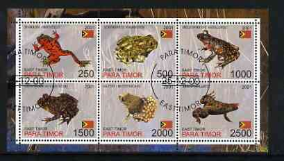 Timor (East) 2001 Frogs perf sheetlet containing set of 6 values cto used