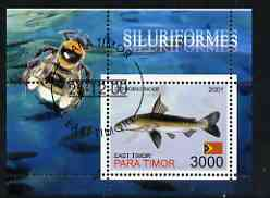Timor (East) 2001 Fish #4 (with Bee in margin) perf m/sheet cto used