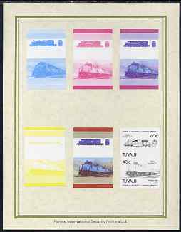 Tuvalu 1985 Locomotives #5 (Leaders of the World) 40c 'SD-50 Diesel' set of 7 imperf progressive proof pairs comprising the 4 individual colours plus 2, 3 and all 4 colour composites mounted on special Format International cards (7 se-tenant proof pairs as SG 350a)
