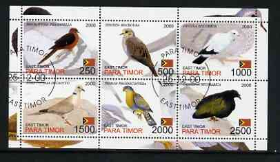 Timor (East) 2001 Pigeons perf sheetlet containing set of 6 values cto used