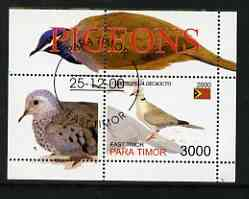 Timor (East) 2001 Pigeons perf m/sheet cto used