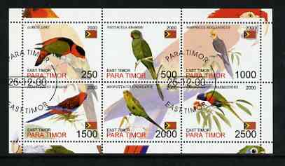Timor (East) 2001 Parrots perf sheetlet containing set of 6 values cto used