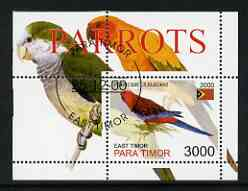 Timor (East) 2001 Parrots perf m/sheet cto used