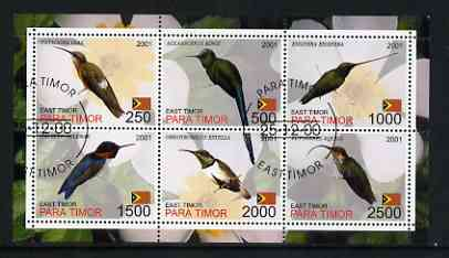 Timor (East) 2001 Humming Birds perf sheetlet containing set of 6 values cto used