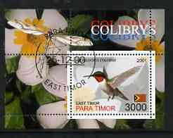 Timor (East) 2001 Humming Bird (Insect in margin) perf m/sheet cto used