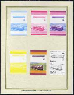 Tuvalu 1985 Locomotives #5 (Leaders of the World) 65c 'Flying Hamburger' set of 7 imperf progressive proof pairs comprising the 4 individual colours plus 2, 3 and all 4 colour composites mounted on special Format International cards (7 se-tenant proof pairs as SG 352a)