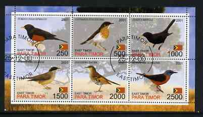 Timor (East) 2001 Thrushes perf sheetlet containing set of 6 values cto used
