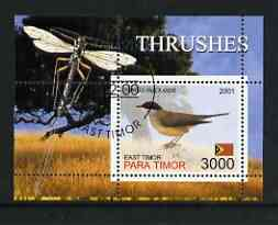 Timor (East) 2001 Thrushes (Insect in margin) perf m/sheet cto used