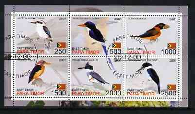 Timor (East) 2001 Kingfishers perf sheetlet containing set of 6 values cto used