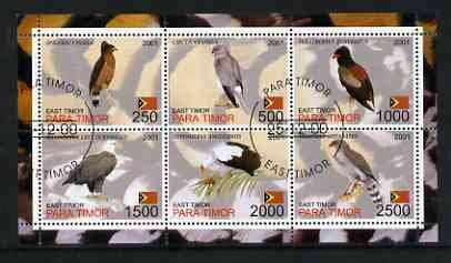 Timor (East) 2001 Hawks perf sheetlet containing set of 6 values cto used