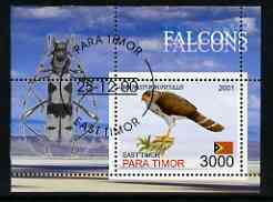 Timor (East) 2001 Falcons (Insect in margin) perf m/sheet cto used