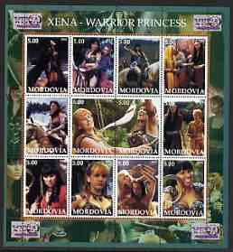 Mordovia Republic 2002 Xena - Warrior Princess #1 perf sheetlet containing set of 12 values unmounted mint