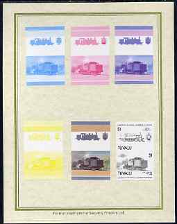 Tuvalu 1985 Locomotives #5 (Leaders of the World) $1 'Class 1070 4-4-2' set of 7 imperf progressive proof pairs comprising the 4 individual colours plus 2, 3 and all 4 colour composites mounted on special Format International cards (7 se-tenant proof pairs as SG 354a)