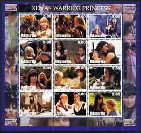 Udmurtia Republic 2002 Xena - Warrior Princess perf sheetlet containing set of 12 values unmounted mint