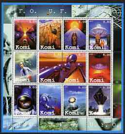 Komi Republic 2002 UFO's #1 perf sheetlet containing set of 12 values unmounted mint